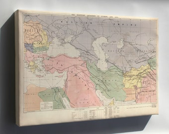 Canvas 16x24; Map Of Middle East Turkish Empire Persia 1886