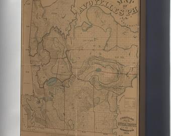 Canvas 16x24; Map Of Avoyelles Parish, Louisiana 1879