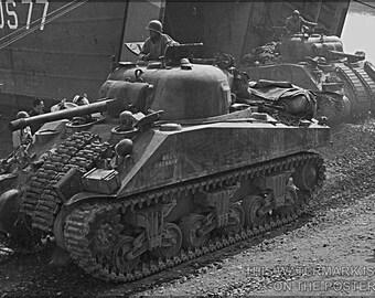 16x24 Poster; Sherman Tanks Land At Anzio