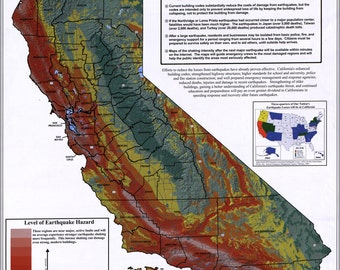 16x24 Poster; Map Of California Earthquake Potential 2003