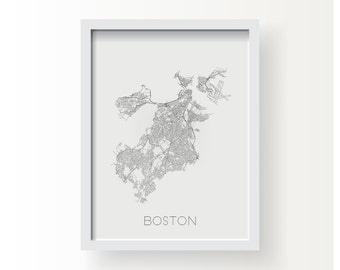 BOSTON MASSACHUSETTS City Limit Map Print - graphic drawing art poster Bean Town