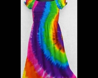 Child's Rainbow  Tie - dye sundress / Little girls dress / cover-up