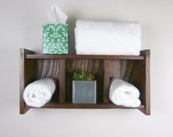 Rustic Bathroom Shelves Over Toilet – Rustic Chunky Wooden Shelves – Reclaimed Wood Rolled Bath Towel Rack – Stained Rustic Wood Shelf Unit