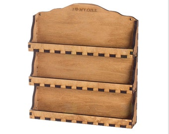 Essential Oil Wall Display Rack (Holds 24 Vials) 3-Shelf, Natural Wood,