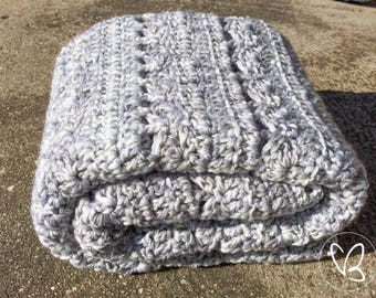 Crochet Baby Blanket, Baby Blanket, Grey, White, Car Blanket, Pram Blanket, Baby Shower Gift, Newborn, Nursery Bedding, Cot Bedding