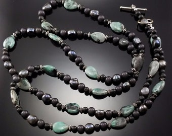 """Vintage Black Freshwater Pearl Green Semiprecious Stone Necklace 50"""" Long Huge"""