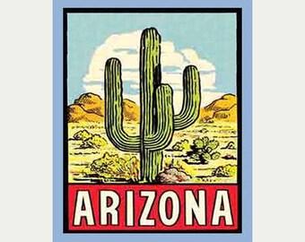 Arizona Decal - Arizona Sticker - Arizona Cactus Sticker - Travel Sticker - RV Sticker - Vacation Sticker - Arizona Souvenir - ST117