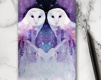 Owl Notebook - Crystal Notebook - Jotter - Stocking Filler - Owl Gift - Bird Notebook - Bird Gift - Journal - Exercise Book