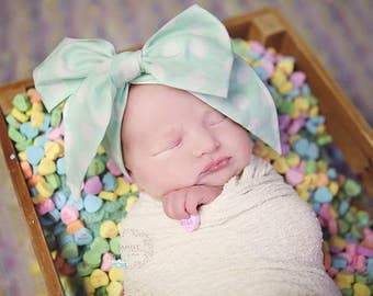 DOTTIE MINT Gorgeous Wrap- headwrap; fabric head wrap; polka dot head wrap; newborn headband; baby headband; toddler headband; baby headwrap