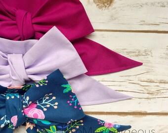 Gorgeous Wrap Trio (3 Gorgeous Wraps)- Boysenberry, Lavender & Navy Floral Gorgeous Wraps; headwraps; fabric head wraps; headbands