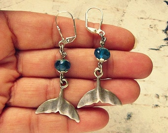 Whale Earrings, Whale Tail Earrings, Whale Tail Jewelry, Whale Jewelry, Whale Gift, Marine Life Jewelry, Silver Whale Earrings