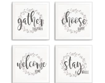 Gather Together, Choose Happy, Welcome Home, Stay a While, Set of 4 Fine Art Prints