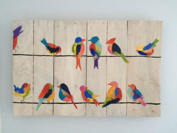 Birds on Wires Pallet Painting