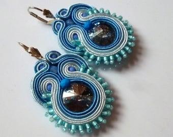 Boho Chic Soutache Earrings Blue Swarovski Elegant Ethno Glamour Ohrringe Soutache Boucles d'oreilles soutache Orecchini Soutache
