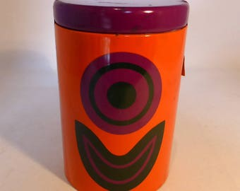 St. Michael (Marks & Spencer) orange and purple storage tin – original from the 1970s