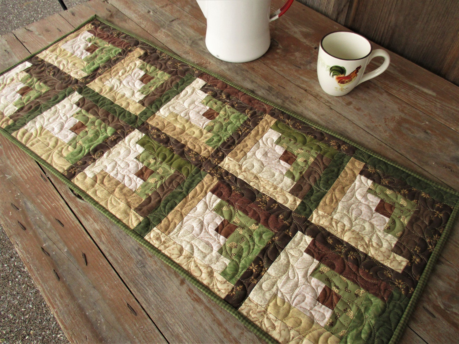 Country Home Decor Quilted Table Runner Brown And Green