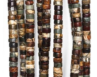 2376_Picasso Jasper 6x4 mm, Heishi beads, Brown stone beads, Jasper brown beads, Natural jasper beads, Multi colored beads, Stone beads.