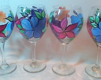 Set of 4 Hand Painted Colorful Whimsical Fun Flowers