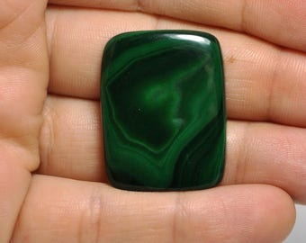 100 % Natural Dark Green Malachite Cabochon Rectangular Shape. Pendant size Cab. 30x23.5x5 mm. 54.95 Cts.