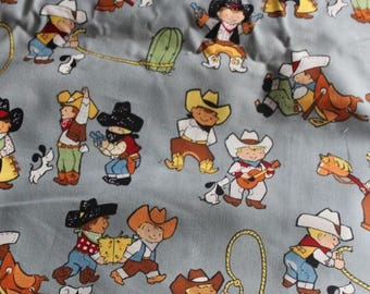 Alexander Henry Backyard Buckeroos Out of Print Hard to Find BTHY Grey Background Vintage Inspired Images of Little Cowboys Super Cute!
