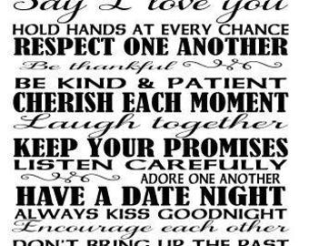 Rules for a happy marriage SVG File, Quote Cut File, Silhouette File, Cricut File, Vinyl Cut File