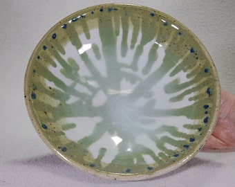 Green, White and Blue Stoneware Bowl