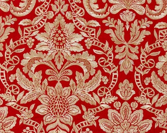 SCALAMANDRE ELIZABETH DAMASK Embroidered Linen Fabric 10 Yards Carnelian Red Creams