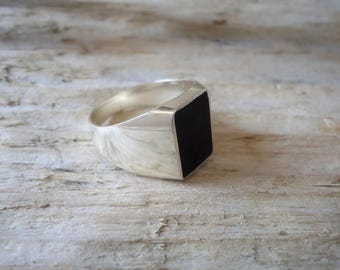 925% Silver pinky ring chavalier with black agate ring, rectangular unisex
