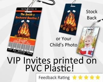 Bonfire Invitation PLASTIC Bonfire, Bonfire Invitation, Birthday Invitation, Birthday Invite, Bonfire Birthday Invitation SKU-INV020