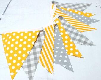 Fabric Banner, Bunting, Flag, Fabric Garland, Gray Yellow  Baby Shower, Scandinavian Nursery, Bunting Flags, Birthday Decoration,Home Decor