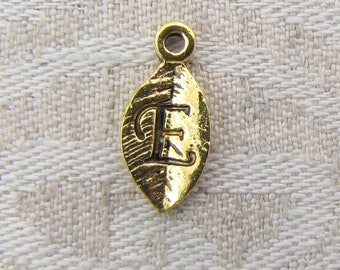 "Gold Leaf Letter ""E"" Charm, 1 or 5 letters per package  ALF017e-GL"