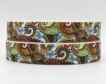 7/8 inch Brown, Green, Blue Pasileys and Flowers on White- Printed Grosgrain Ribbon for Hair Bow