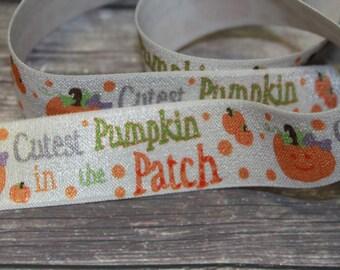 "1"" inch Elastic Halloween Pumpkin Patch DIY Headband Supplies Fold Over Elastic FOE per Yard"