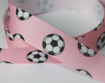 "7/8"" inch Soccer Balls on Light Pink - Sports - Printed Grosgrain Ribbon for Hair Bow TheFabFind"