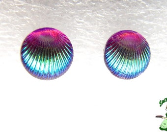 Iridescent Mermaid Aura purple Violet Fuchsia 10mm chips shell earrings