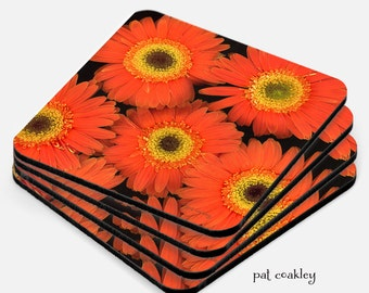 Orange Gerbera Daisy Fine Art Coaster Set | Hostess Gift