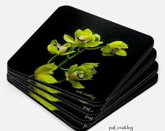 Delicate Chartreuse Orchid Fine Art Coaster Set | Hostess Gift