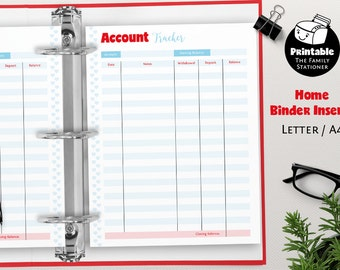 Account Tracker Printable, Account Register, Account Balance Log, Financial Planner Pages, Financial Binder Pages, Letter & A4, TFS/M1/FP009