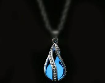 Blue Glow in the Dark Tear Drop pendant, glow dragon egg pendant, Glowing Necklace pendant, mermaid tears