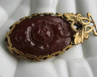 Antique Art Nouveau Carved Carnelian Lavalier Pendant Gold c1890 Estate Jewelry