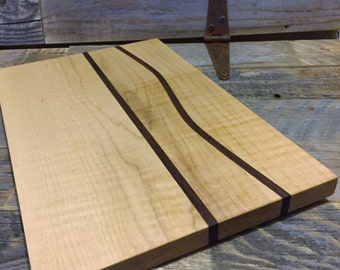 Maple & American Walnut Cutting board with wavy accents