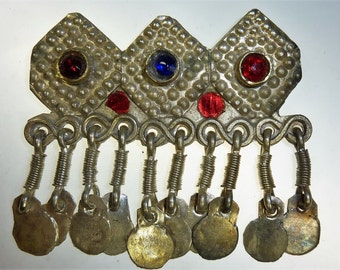 Vintage Hairclip, Tribal-Hairclip, Gypsy Hair Jewelry with Glass Jewels, Hippie Hairclip, Kuchi Hairclip