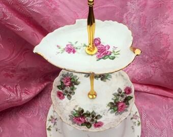 Vintage Rose Plates, High Tea, Tiered Tray, Serving Tray, Bridal Tea Lunch, Pink and Gold, Kitchen Tea, Mad Hatter, Vintage Brunch, Leaf