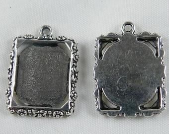 20pcs Tibetan Silver Rectangle Photo Frame Charms Pendants 18x25mm
