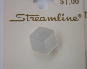 "4 Vintage Buttons, Streamline 1/2"" Translucent White Plastic Hexagon, Shank, 2 Cards"