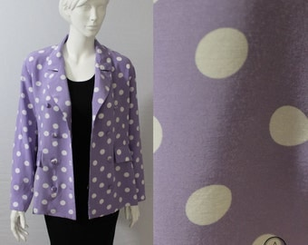 80s Blazer, Shirt Blazer, Lilac, Purple Jacket, Spotty, Light weight Jacket, Purple White, 80s Vintage, UK 16, Womens Blazer, Polka Dots,