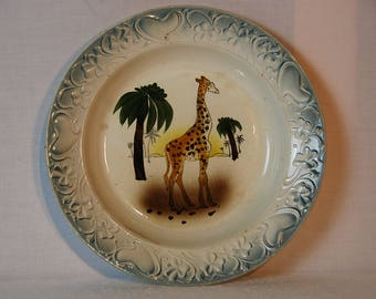 Antique French majolica presentation plate with hand painted Zarafa, the girafe the first to arrive in France.  Saint Amand.