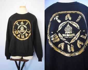 RARE 90s Trump Taj Mahal Casino Sweatshirt, Vintage Trump Memorabilia - 90s Sweatshirt - Vintage Las Vegas - Black and Gold - Medium