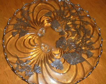 Silver Overlay Footed Cake Platter