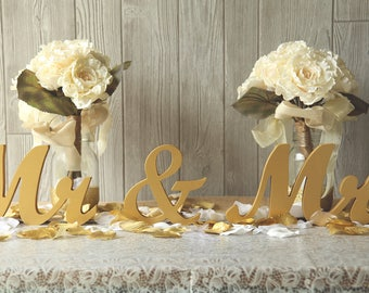 "MR & MRS Gold Painted wedding sweetheart table letters - 6"" Gold Paint or Glitter or Diy Wedding, reception decor"